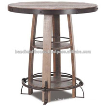 Industrial Vintage Round Metal and Wood High Bar Table