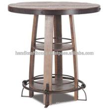 Mesa de barramento de metal e madeira industrial Round Round