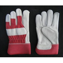 Cow Grain Leather Full Palm Red Back Work Glove