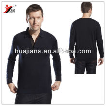man's worsted cashmere polo sweater
