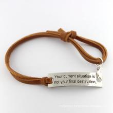 Promotional Custom Engraved Braided Fashion Leather Bracelets