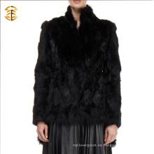 2017 Venta al por mayor chaqueta de piel de conejo colorido chaqueta de las mujeres negras