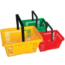 Melhor venda alta qualidade hipermercado cesta com rodas Shop cesta plástica 30L cesta de rolamento