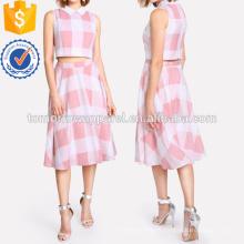 Zip Retour Plaid Crop Top et Jupe Set Fabrication En Gros Mode Femmes Vêtements (TA4017SS)