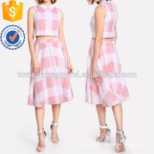 Zip Back Plaid Crop Top And Skirt Set Manufacture Wholesale Fashion Women Apparel (TA4017SS)