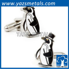 custom designed hard enamel penguin cufflinks
