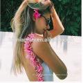 Ladies White Cotton Bodycon Rompers Summer Petals Flowers Backless Ladies Jumpsuit