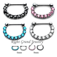 316L Steel Crystal 16G Clicker Septum Piercings