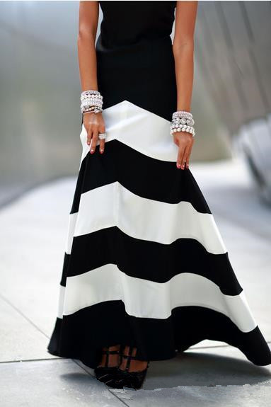 Black And White Striped Stitching Sleeveless Dress