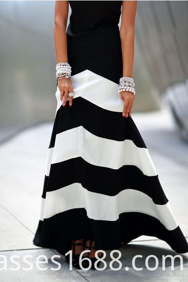 Black And White Striped Stitching Sleeveless Dress