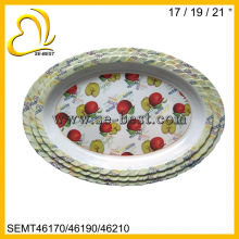 large oval fruit decal wave shaped melamine tray white