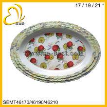grande oval fruta decalque onda em forma de bandeja de melamina branca