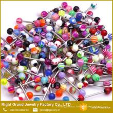 Assorted Mixed Designs Logo Printed UV Acrylic Piercing Ball Tongue Ring