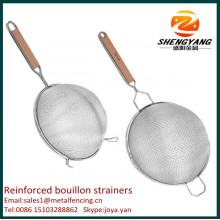 Nouveaux paniers de fil de cuisson en métal artisanal double tamis de boulette fine tamis en acier inoxydable renforcé de bouillon