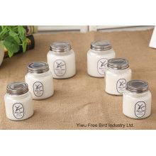 Velas de fragancia personalizadas con tarro de cristal de color blanco