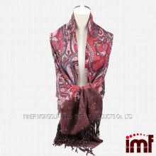 Paisley Patterned Cashmere Scarf with Tassels