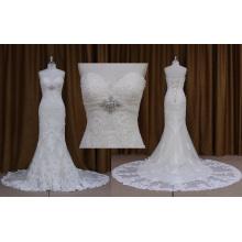 Ns7282 vente en gros sans bretelles dentelle appliques robe de mariée 2016