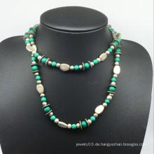 Naturstein Legierung Perlen Halskette (XJW13776)
