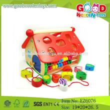 2015 Новейшая образовательная деревянная игрушка для дома, играйте в деревянный блок-домик, сортировочную игрушку House House