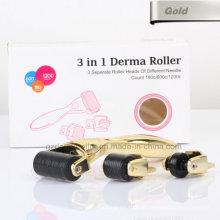 Ouro 3 em 1 Derma Roller com Seprate Roller Head