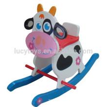 Animais de madeira Vaca Bebê Crianças Rocking Horse Riding on Toy pintado