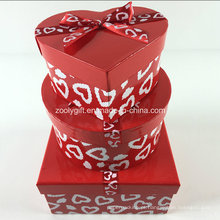 Custom impressão Ribbon Round Heart-Shaped Square Mixed Caixas de presente de papel Set
