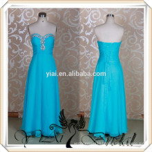 RSE47 Floor Length Chiffon Turquoise Bridesmaid Dress With Rhinestones Neckline
