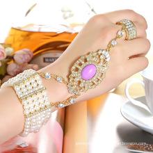 Moda CZ Rhinestone chapado en oro de aleación de zinc brazalete y anillo conjunto pulsera