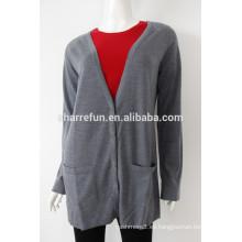 Al por mayor 16gg superfino ligero largo cachemir suéter cardigan