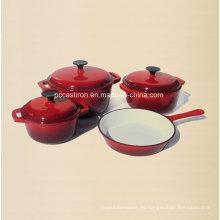 4PCS Gusseisen Kochgeschirr Set in roter Farbe mit Emaille Finish