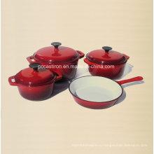 4PCS чугунная посуда в красный цвет с эмалевым покрытием