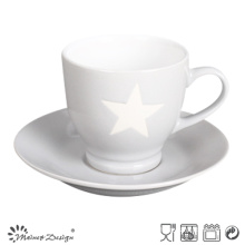 3oz Cup and Saucer with Star Design Grey Color