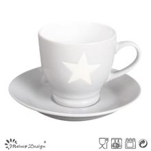 Taza y platillo de 3 oz con diseño estrellado color gris