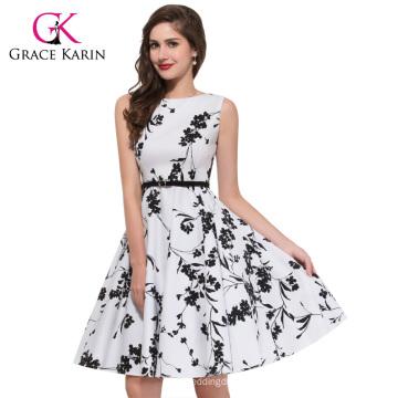 Grace Karin longueur au genou sans manches Cheap Retro Vintage 50s coton grande taille robe CL6086-11