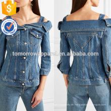 Heißer Verkauf Cold-Shoulder-Denim Baumwolle Langarm Frühlingsjacke Herstellung Großhandel Mode Frauen Bekleidung (TA0003J)