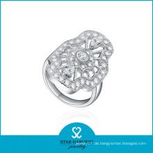 Hochwertiger Rhodium überzogener Messing Edelstein Ringe