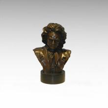 Büsten Messing Statue Beethoven Dekoration Bronze Skulptur Tpy-789