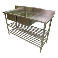 Fregadero de cocina comercial australiano con mesa de trabajo, cocina de acero inoxidable fregadero de 2 compartimientos con escurridor