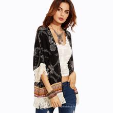 Été impression vêtements de plage vêtements pour femmes noir couleur polyester tassel plage paréo