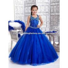2013 halter perlé robe de bal jupe bleue sur mesure boucles d'oreille de fille de fleur CWFaf4586