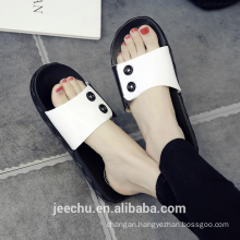 Button personality home slippers non-slip fashion ladies slippers
