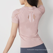 yoga hollow out t shirt for women