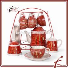 Einzigartiger keramischer Kaffee Tee Zucker Set / Teekanne gesetzt