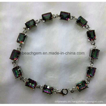 Moda brazalete de joyería de plata topacio místico (BR0042)