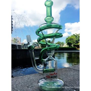 Großhandel Spiral Recycling Glas Wasser Rohr Handblown Glas Wasser Rohr