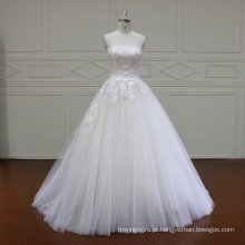 Frisado cinto de uma linha de vestido de noiva vestido de noiva com decote em v (xf16030)