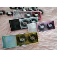 Wholesale Custom Logo Packing Box 2 Pairs Into 1 Box 25mm Strip False Lash 5D 3D Real Mink Fur Luxury Eyelashes