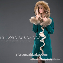 Factory Wholesale Custom Green Raccoon Coat Jacket Real Fur Parka