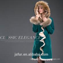 Factory Wholesale Custom Green Raccoon Coat Jacket Real Fur Parka
