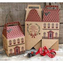 Caixa de presente de Natal em forma de casa / caixa de papel Kraft em matriz